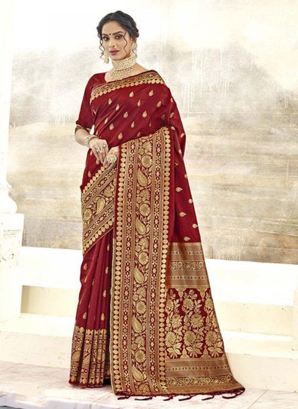 Silk Maroon Classic Saree