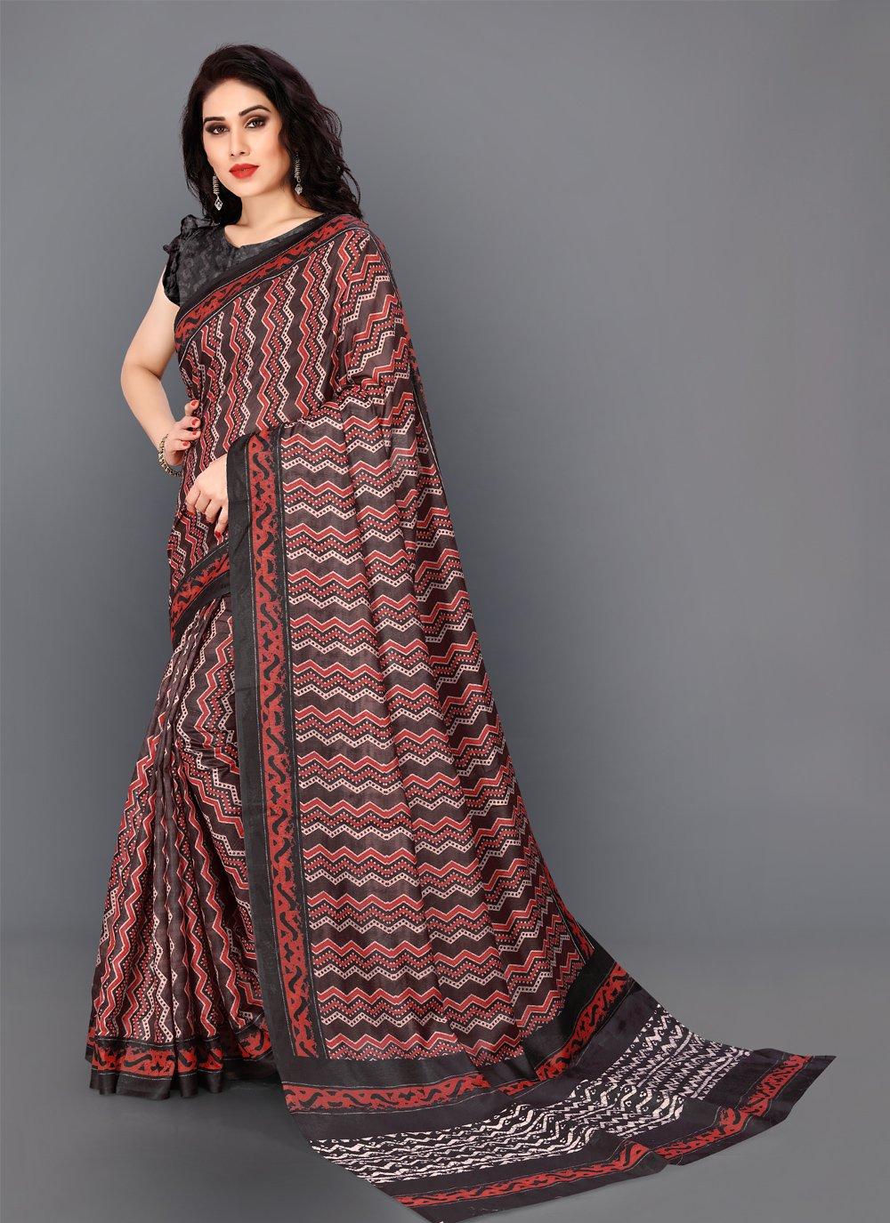 Silk Maroon Contemporary Saree