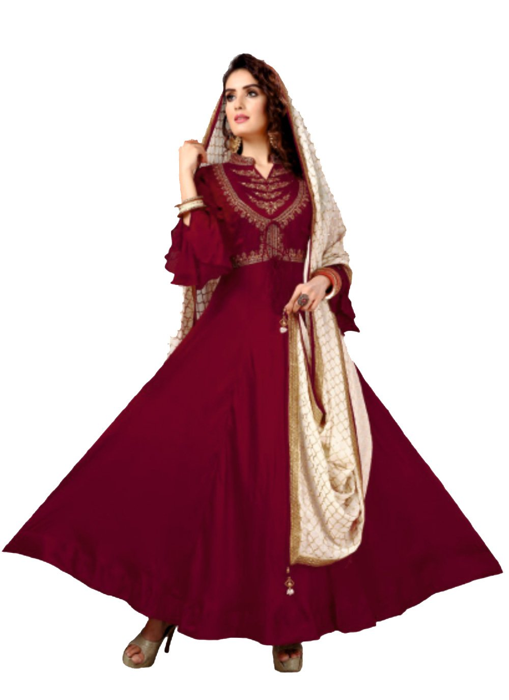 Silk Maroon Embroidered Anarkali Salwar Kameez
