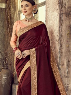 Silk Maroon Embroidered Classic Designer Saree