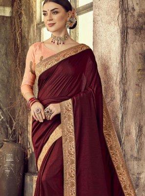 Silk Maroon Embroidered Classic Designer Saree