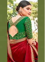 Silk Maroon Embroidered Contemporary Saree