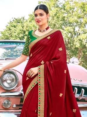 Silk Maroon Embroidered Contemporary Saree