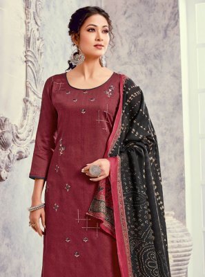 Silk Maroon Embroidered Salwar Suit