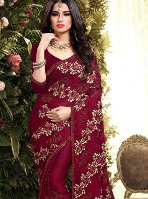 Silk Maroon Resham Designer Saree