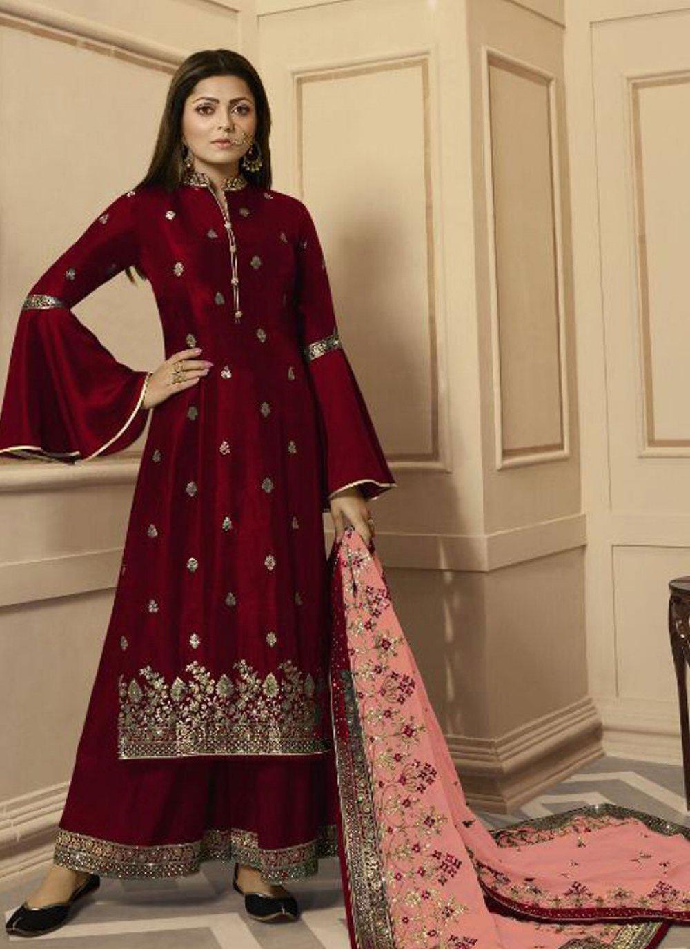 Silk Maroon Salwar Kameez