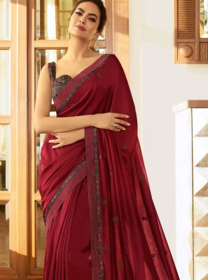 Silk Maroon Traditional Saree