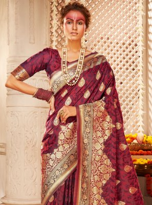 Silk Maroon Weaving Designer Saree