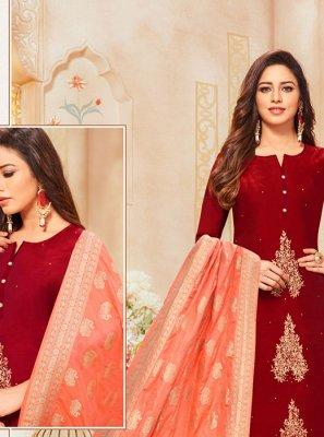 Silk Maroon Zari Designer Salwar Suit