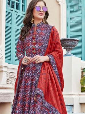 Silk Multi Colour Anarkali Salwar Suit