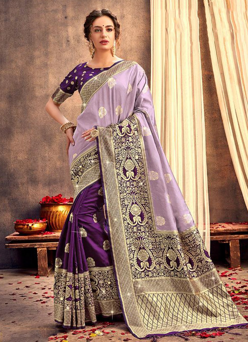 Silk Multi Colour Contemporary Saree