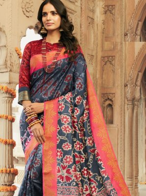Silk Multi Colour Printed Contemporary Saree