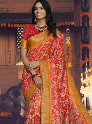 Silk Multi Colour Printed Traditional Saree