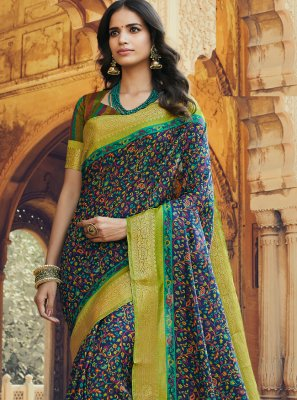 Silk Multi Colour Printed Trendy Saree