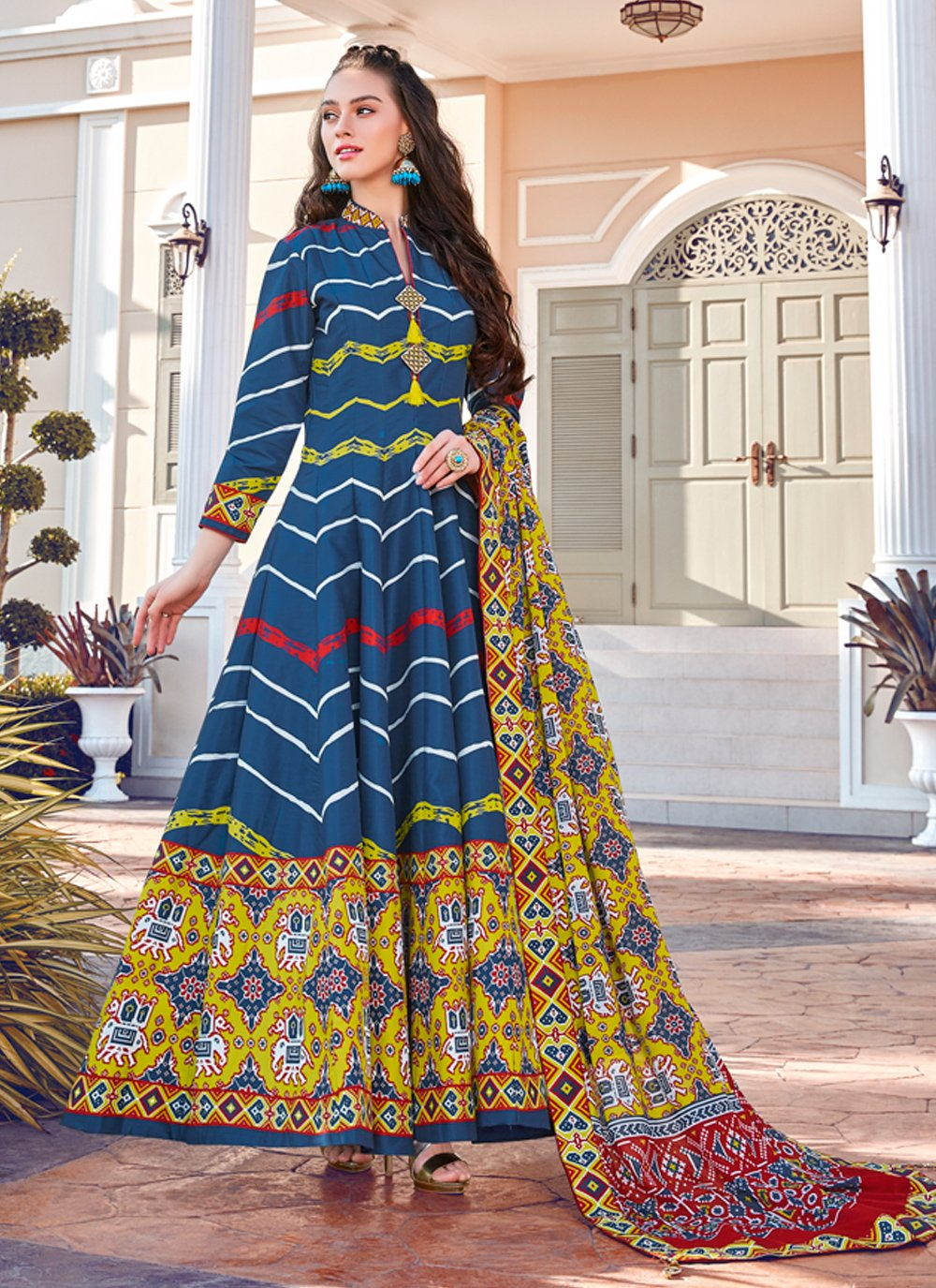 Silk Multi Colour Readymade Gown