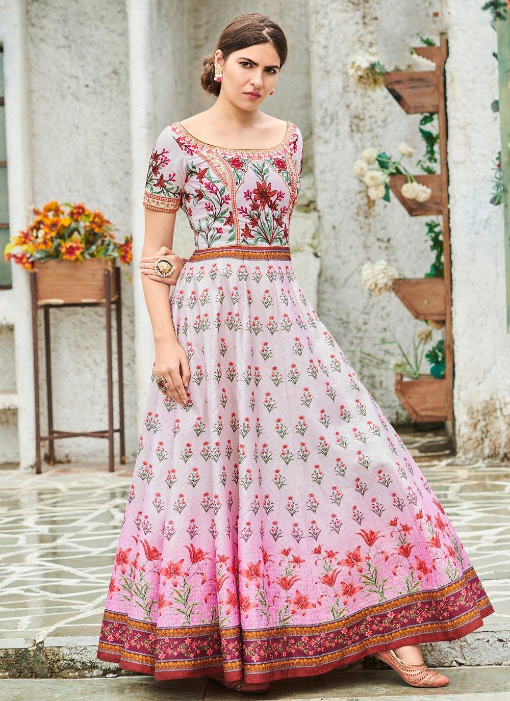 Silk Multi Colour Trendy Gown
