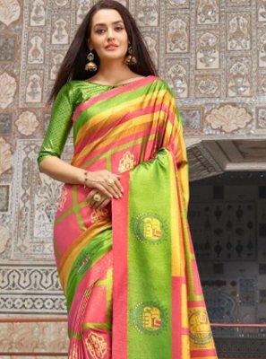 Silk Multi Colour Trendy Saree