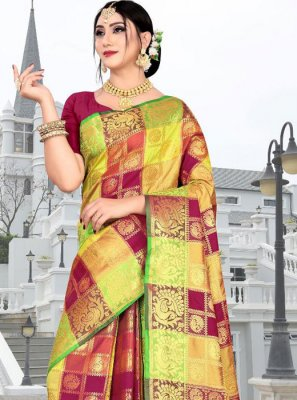 Silk Multi Colour Weaving Silk Saree