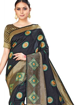 Silk Multi Colour Woven Designer Saree