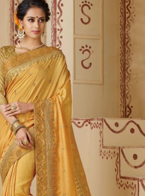 Silk Mustard Border Silk Saree