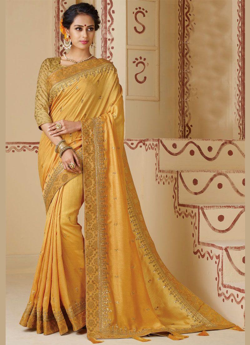 Silk Mustard Border Silk Saree