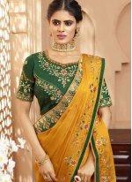 Silk Mustard Embroidered Trendy Saree