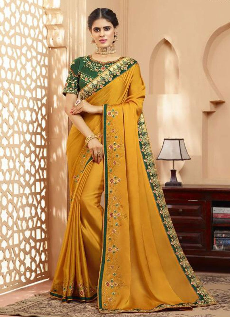 Silk Mustard Embroidered Trendy Saree