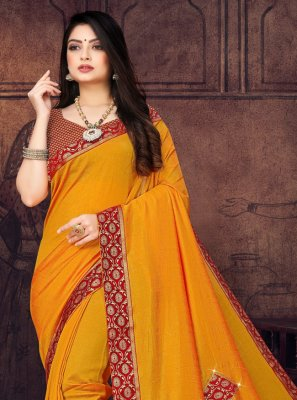 Silk Mustard Lace Designer Saree