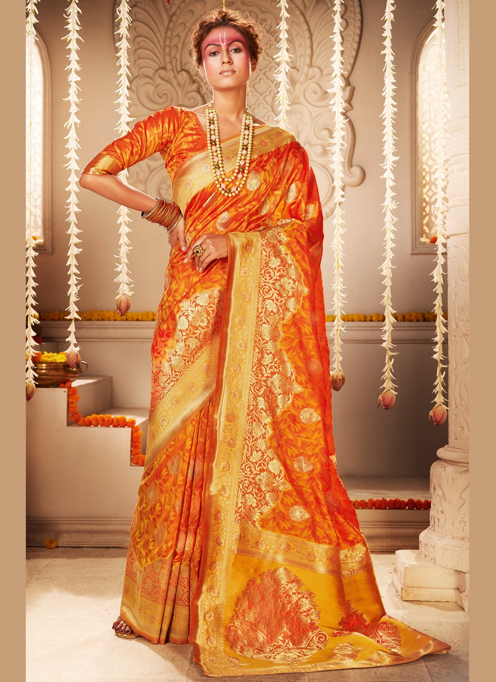 Silk Mustard Traditional Saree