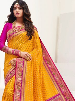 Silk Mustard Weaving Contemporary Saree