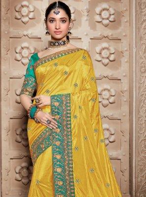 Silk Mustard Weaving Contemporary Saree