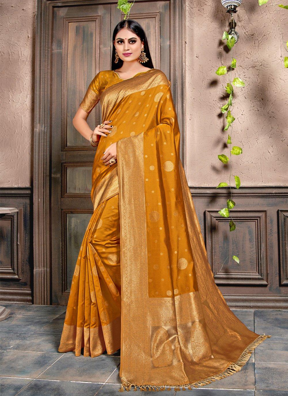 Silk Mustard Weaving Designer Contemporary Saree