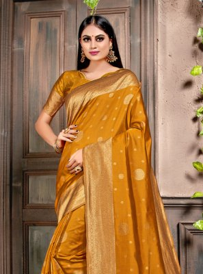 Silk Mustard Weaving Designer Contemporary Saree