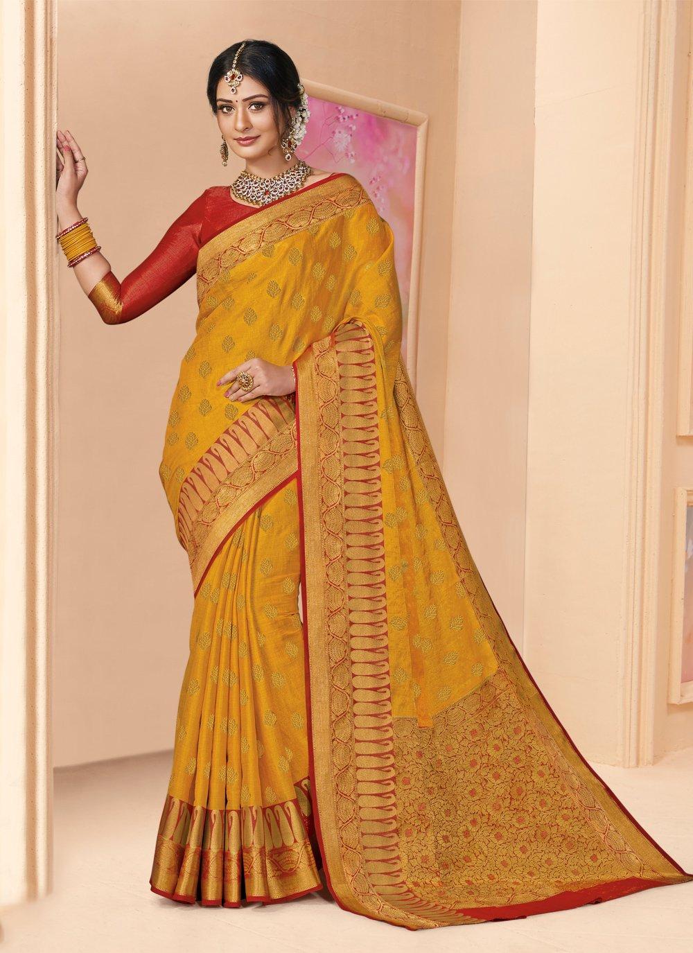 Silk Mustard Weaving Designer Saree