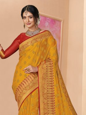 Silk Mustard Weaving Designer Saree