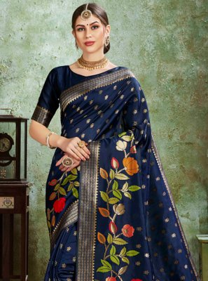 Silk Navy Blue Bollywood Saree