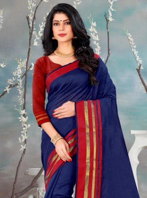 Silk Navy Blue Casual Saree