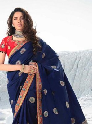Silk Navy Blue Contemporary Saree