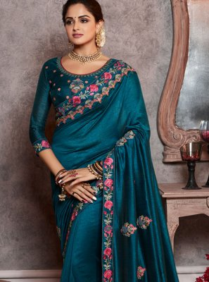 Silk Navy Blue Embroidered Classic Saree