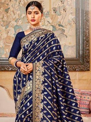 Silk Navy Blue Embroidered Silk Saree