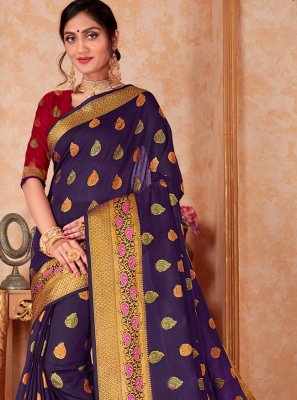 Silk Navy Blue Weaving Casual Saree