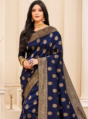 Silk Navy Blue Weaving Designer Saree
