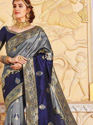 Silk Navy Blue Weaving Silk Saree