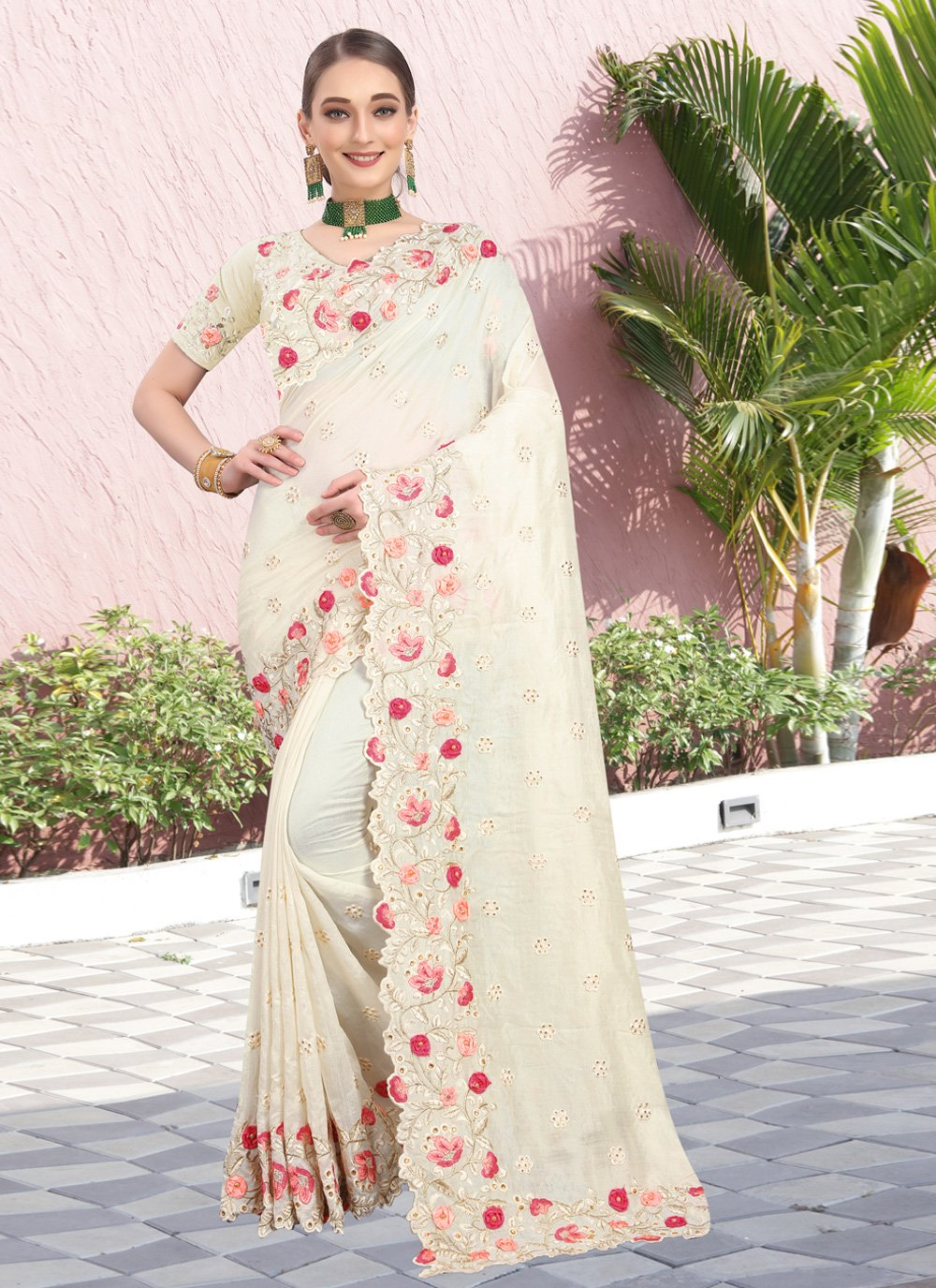 Silk Off White Stone Trendy Saree