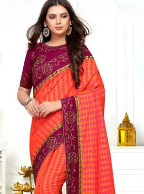 Silk Orange and Pink Classic Saree