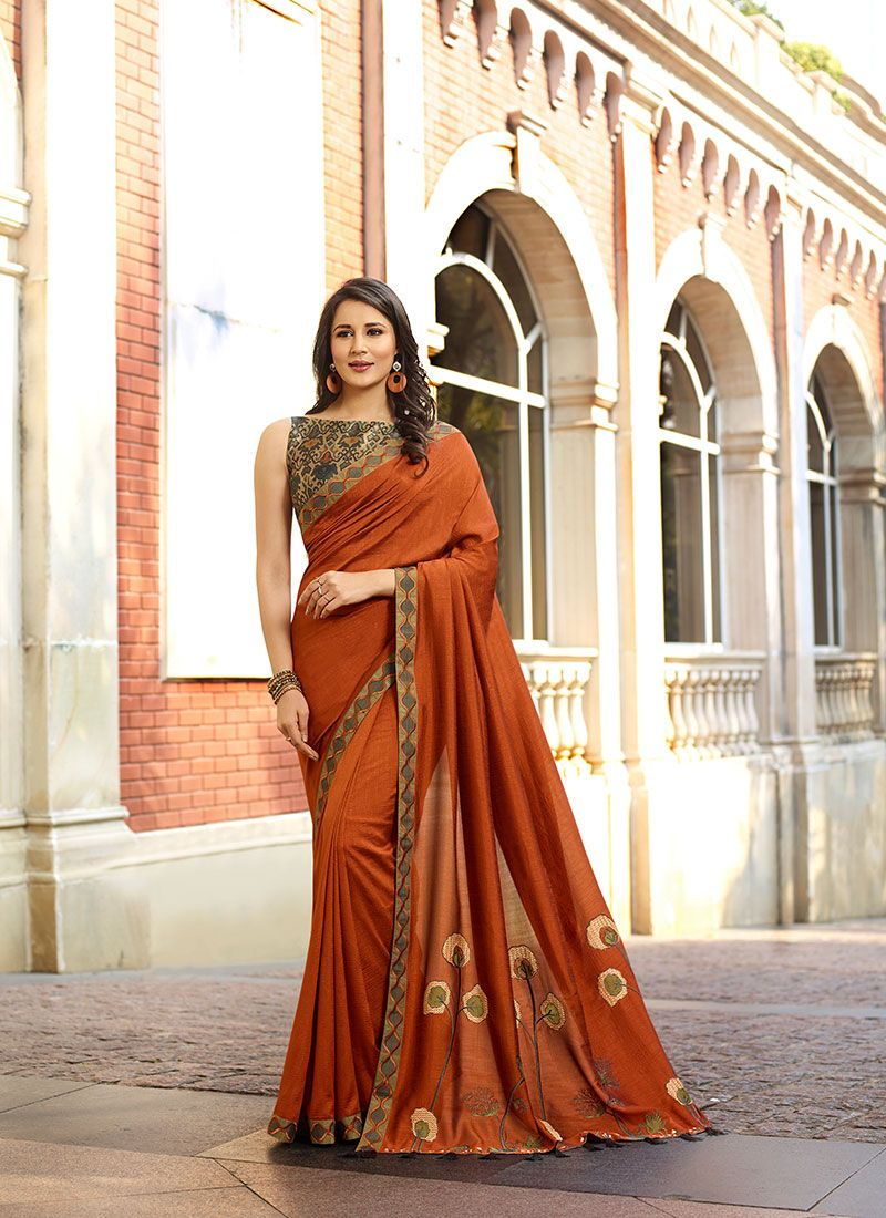 Silk Orange and Rust Traditional Saree