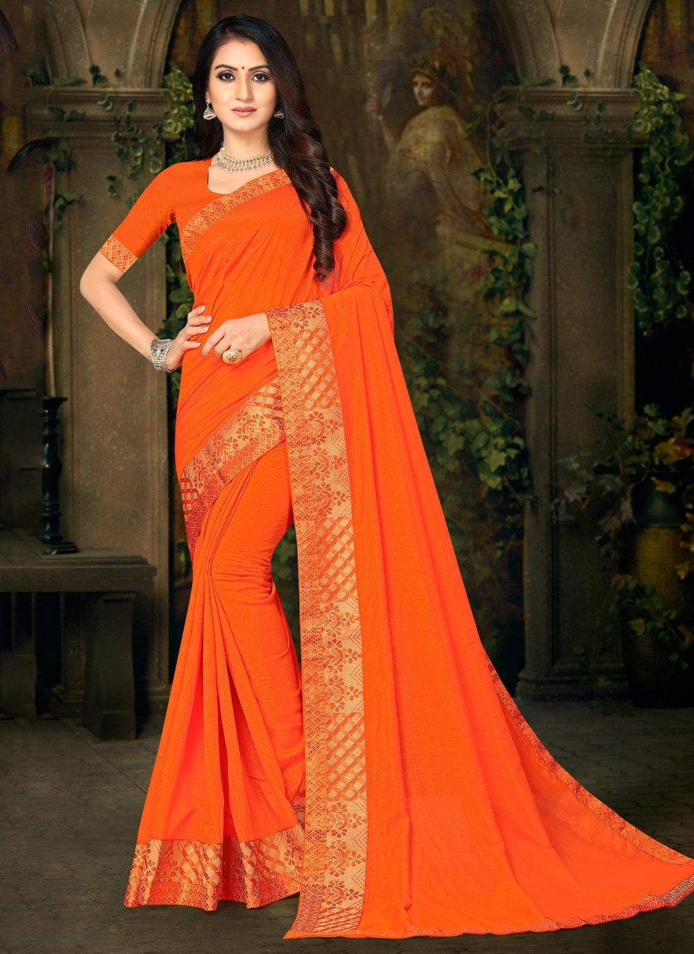 Silk Orange Casual Saree