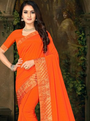 Silk Orange Casual Saree