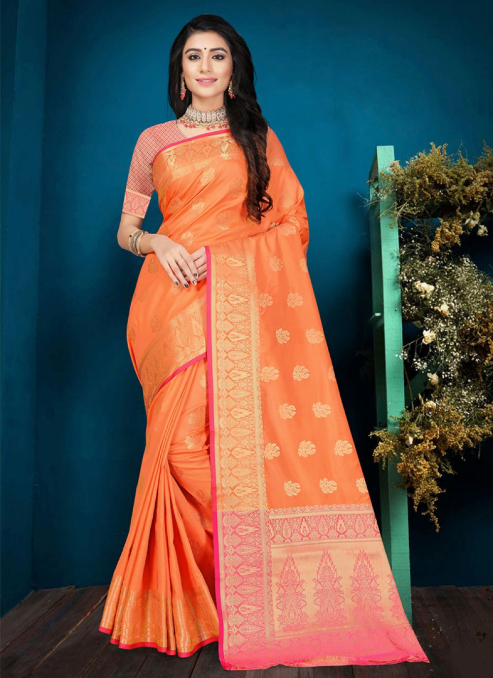 Silk Orange Classic Saree