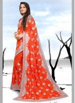 Silk Orange Designer Saree